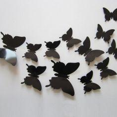 Set 12 glans vlinders zwart