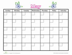 Second Grade Time Worksheets: May Calendar