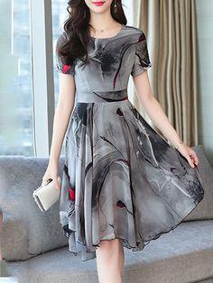 Round Neck Asymmetric Hem Print Skater Dress - image for you Cheap Skater Dresses, Trendy Dresses, Elegant Dresses, Cute Dresses, Casual Dresses, Frock Dress, Coat Dress, Chiffon Dress, Dress Skirt