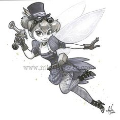 Steampunk Tink. I can hardly breathe from the awesomeness. Next halloween maybe? Wonder if artist Amy Mebberson sells prints of this.