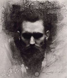 """""""Ricki Hall""""-  Casey Baugh (American, b. 1984) {contemporary figurative #expressionist art male head bearded man face portrait grunge monochrome charcoal drawing #loveart} <3 caseybaughfineart.com"""