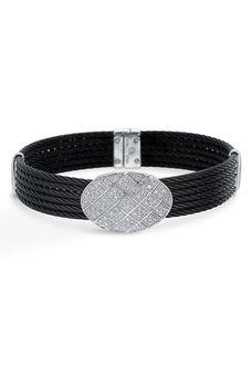 32573e215fb702 Charriol  Celtic Noir  Diamond Pave Station Bracelet Black Stainless  White  Gold Jewelry Closet