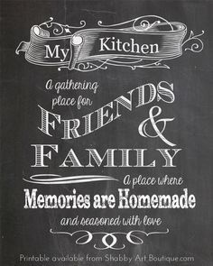 chalkboard tips and a free printable! - Shabby Art chalkboard tips and a free printable! Blackboard Art, Kitchen Chalkboard, Chalkboard Lettering, Chalkboard Designs, Chalkboard Drawings, Chalkboard Stencils, Chalkboard Paint, Decoupage, Kitchen Quotes