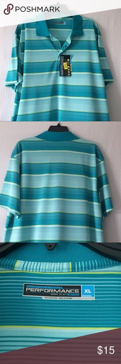 Men's Polo Shirt Amazing, colorful Men's polo shirt. Roundtree & Yorke, 100% polyester. Blue green color with small yellow stripes. New👍 Roundtree & Yorke Shirts Polos
