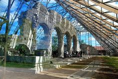 In Hamar where the craft event was held there is the most wondeful ruined Cathedral, which has now been enclosed in a modern glass house to . Modern Glass House, Asian Continent, Lofoten, Brooklyn Bridge, Architecture Details, Continents, Places To Travel, Norway, Cathedral