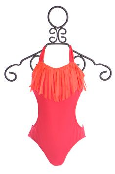 To The 9's Tween One Piece Fringe Bathing Suit in Red $52.00
