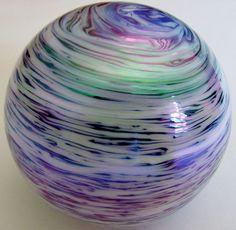 Iridescent Pearl Swirl Art Glass Paperweight