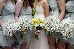 Baby's Breath bouquets for the bridesmaids. Love this idea
