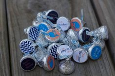 88 Hershey Kiss Labels  - Stickers for Candy Kisses - Whale Baby Shower Favor on Etsy, $9.00
