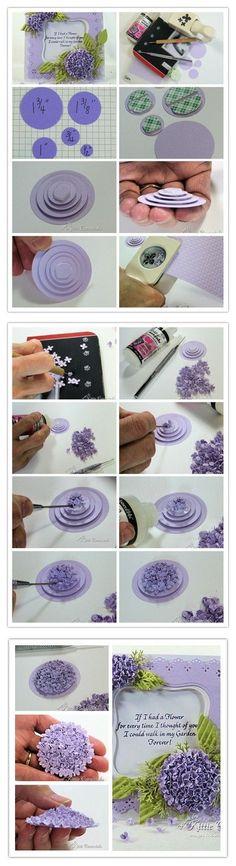 看似复杂的绣球花,其实不需要太多工具和材料,花一些时间和耐心,就可以做出漂亮的绣球花了......,Cool Flower Crafts , Paper Crafts for Teens , paper, craft, flower,wrap, gift, decor,blumen,basteln,bastelvorlage,tutorial diy, spring kids crafts, paper flowers,diy, bauble, ornament by kbn