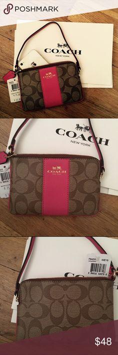 Spotted while shopping on Poshmark: Authentic coach signature wristlet w/coach box! #poshmark #fashion #shopping #style #Coach #Handbags