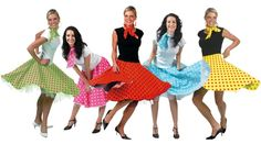 50s Rock N Roll Skirt and Scarf Fancy Dress Costume