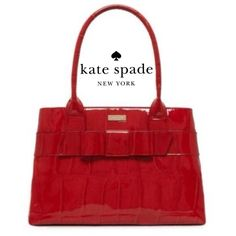 """AUTH KATE SPADE KNIGHTSBRIDGE ELENA BAG W TAG & DB Includes original dustbag & tags   100% authentic, brand new! & IMO, FLAWLESS!- minute surface scratching to bottom feet, from handling in showroom. Impossible to photograph!   Crocc embossed patent leather in Fire engine red Kate Spade signature embossed 14k light gold plated hardware 15"""" x 10"""" x 4.5"""" Fully lined In Kate Spade beige signature twill fabric Beautiful bow on front Two main compartments, one zipper middle pocket & inside zipper…"""