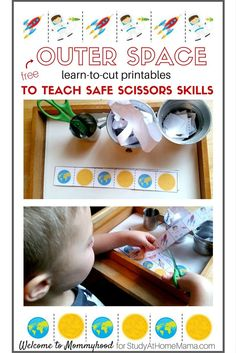 FREE Outer Space Learn to Cut Printables and tips on how to teach safe scissors skills. These Cutting Worksheets come with a complete step-by-step breakdown of the stages of learning how to cut - from snipping to following complex patterns and lines