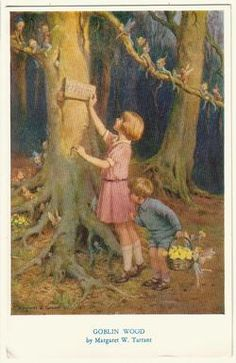 Margaret W. Tarrant (1888 -1959, English) vintage postcard - Goblin Wood c 1953  Gathering primroses