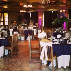 Purple and ivory, with beautiful flower centerpieces make a wonderful combination.