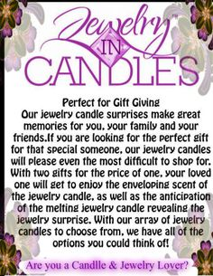 Jewelry In Candles  https://www.jewelryincandles.com/store/kimberlysloane