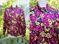 size 10 brown yellow 80 Shirt blouse Earth rayon green color