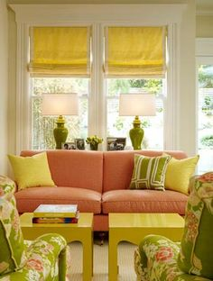 lovely little living room...happy colors!