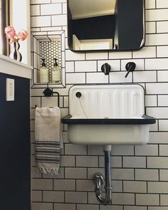 Alape Bucket Sink with Navy Trim - The Mammoth Fixer is starting to come together! I had so much fun designing and renovating this lit - Guest Bathrooms, Bathroom Sets, White Bathroom, Bathroom Storage, Modern Bathroom, Vintage Bathroom Sinks, Sinks For Small Bathrooms, Farmhouse Bathroom Sink, Vintage Sink