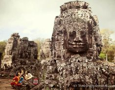 Angkor Thom: The Faces of South Gate & Bayon Temple Amazing Places On Earth, South Gate, Angkor, First World, Mount Rushmore, The Good Place, Temple, Lion Sculpture, Around The Worlds