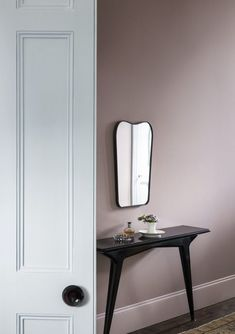 Calm Hallway painted in pink-based neutral Plaster V. Soothing contrast with the door painted in soft pale blue Spur. Both by Paint and Paper Library. Hallway Colours, Hallway Decorating, Paint And Paper Library, Hallway Paint, Painted Doors, Painted Front Doors, Hall Colour, Hallway Colour Schemes, Pink Hallway