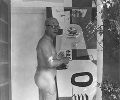 Here's a scandalous nude photo from before iCloud was invented: Le Corbusier painting innuendo-filled murals on the first home designed by architect Eileen Gray. He was encouraged to by the home's owner, Gray's former paramour Jean Badovici. Gray was not pleased.