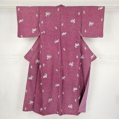 Red purple komono kimono /【小紋】赤紫色花柄化繊