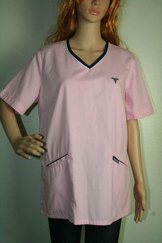 Metroscrubs pink short sleeve 2 pocket cinch tie back scrub top size M #Metroscrubs