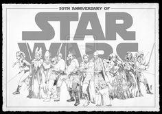 Star Wars Jedis (from left to right): Aayla Secura, Shaak Ti, Ki Adi Mundi, Luke Skywalker, Qui-Gon Jinn, Obi-Wan Kenobi, Mace Windu, Yoda, Luminara Unduli, Barriss Offee, Kit Fisto