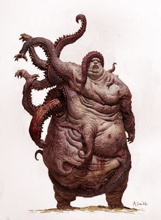 Cthulhu-mutant from the Old Ones End Times? I dunno, but *damn ugly* and SAN loss! Fantasy Monster, Monster Art, Image Monster, Zombie Monster, Creepy Monster, Arte Horror, Horror Art, Character Inspiration, Character Art