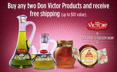 Special holiday offer: Purchase any two Don Victor Honey Products and receive free shipping from their online store. For online ordering, enter G5NQDT69YUR1 to receive discount. Honey For The Holidays AD