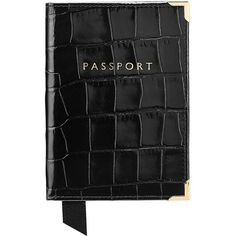 ASPINAL OF LONDON Crocodile effect leather passport cover (96 SGD) ❤ liked on Polyvore featuring bags, black, black leather bag, aspinal of london, black crocodile bag, black croc bag and black bag