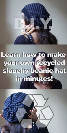 No-knit easy beanie hat tutorial - Learn how to sew your recycled slouchy beanie hat, even if you don't know how to knit. In fact, I don't have a clue about knitting and I have created this cute beanie hat anyway! Get a free step by step guide and a printable pattern here: http://eepurl.com/BGmy5