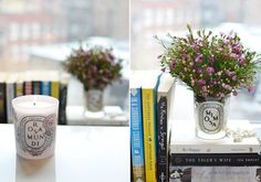 Recycle Diptyque candle glasses for flowers.