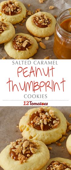 Salted Caramel Peanut Thumbprint Cookies | The sweet and salty combo from the caramel and peanuts is absolutely perfect. If you end up baking these cookies for guests, you might want to make extra for yourself, as anyone who enjoys peanuts or caramel is sure to gobble these up!
