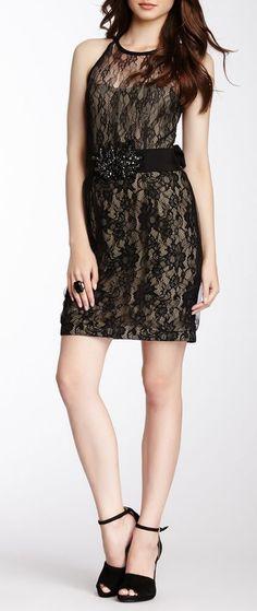 Embellished Waist Lace Overlay Dress