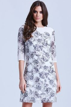 Little Mistress Illustrated Floral Tunic Dress Occasion Wear, Special Occasion Dresses, Party Dresses For Women, Grey And White, Gray, Fashion Boutique, Cold Shoulder Dress, Chiffon, Mistress