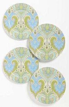 'Latika - Seafoam' Salad Plates (Set of Plates And Bowls, Salad Plates, Paint Your Own Pottery, Interior Design Kitchen, Kitchen Designs, China Patterns, Dream Decor, Plate Sets, Sea Foam