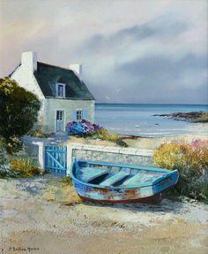 Watercolor Landscape, Landscape Art, Landscape Paintings, Watercolor Paintings, Watercolour, Beautiful Paintings, Beautiful Landscapes, Boat Art, Boat Painting