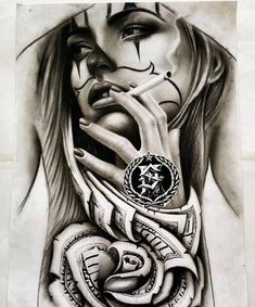 Tattoos have been and are still a big part of many to this day, and many people have one or more tattoos on their bodies. Many different cultures embrace tattoos, and they can bear many different m… Chicano Tattoos, Chicano Drawings, Skull Tattoos, Body Art Tattoos, Sleeve Tattoos, Payasa Tattoo, Clown Tattoo, Symbol Tattoos, Inca Tattoo