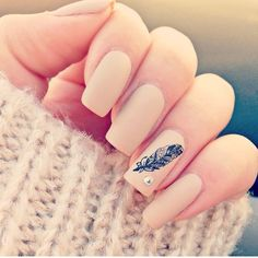 Nude feather nail art
