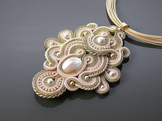 Gold and light pink Soutache necklace with Swarovski от ANBijou