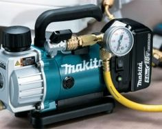 Makita seems to be the first major power tool brand to have come out with a cordless vacuum pump. Hvac Air Conditioning, Refrigeration And Air Conditioning, Cordless Tools, Cordless Vacuum, Edge Painting Tool, Metal Engraving Tools, Makita Power Tools, Hvac Tools, Hvac Filters