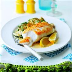 Pan-fried cod with creamy new potatoes and courgettes Recipe | delicious. Magazine free recipes