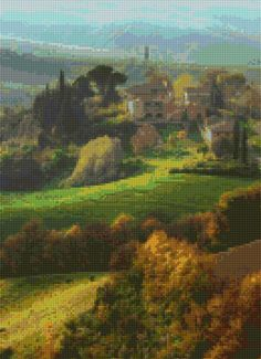 Tuscany Landscape Cross Stitch pattern PDF - Instant Download! by PenumbraCharts…