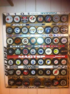 Hockey Stick puck display...