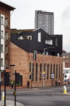 Project Orange is part of architecture Drawing Designs Collage - Completed in 2012 in Shoreham Street, Sheffield 192 Shoreham Street is a Victorian industrial brick building sited at the edge of the Cultural Industries Quarter Architecture Design, Industrial Architecture, Amazing Architecture, Renovation Facade, Habitat Collectif, Roof Extension, Brick Facade, Adaptive Reuse, Building Facade