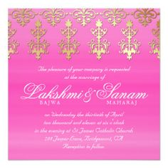 Indian Wedding Invite Damask Gold Pink White How toReview on the This website by click the button below...