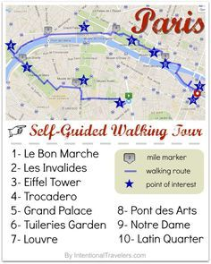 A Free Self-Guided Walking Tour Map for Paris, France | Free tools and resources for trip planning & Free or cheap things to see and do in Paris | Intentional Travelers